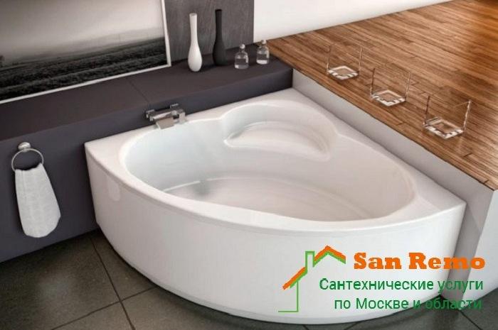 Установка угловой ванны, цены на монтаж и демонтаж угловой акриловой ванны в Москве