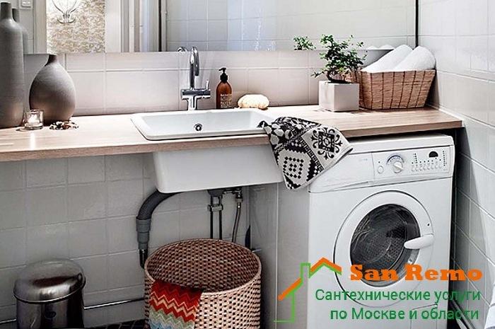 Установка и подключение стиральной машины в ванной комнате в Москве, цены на San-remo77.ru