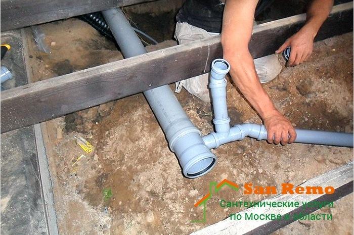 Разводка и установка труб канализации, цены в Москве на San-Remo77.ru